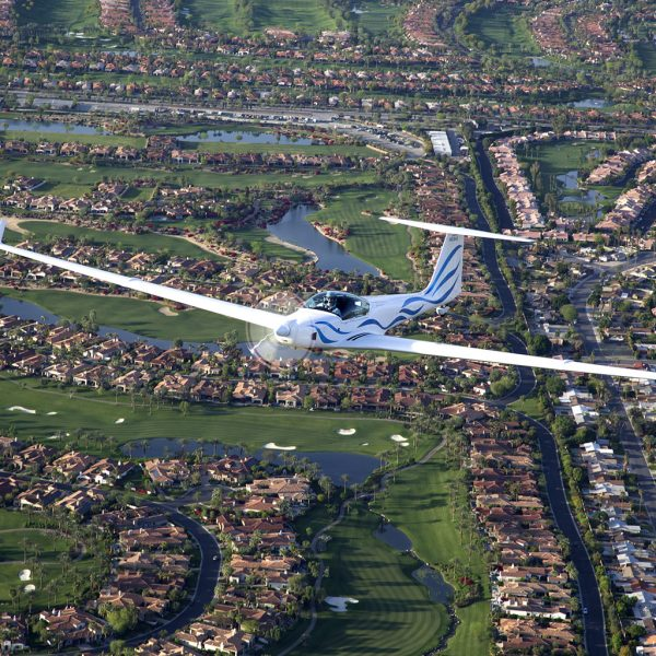 Glider over golf course
